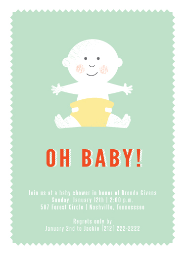 baby shower invitations - Oh Baby Portrait by Serenity Avenue