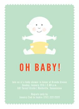 Oh Baby Portrait Baby Shower Invitations