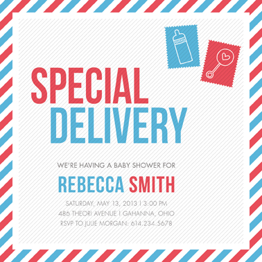 baby shower invitations - Special Delivery by Tami Bohn
