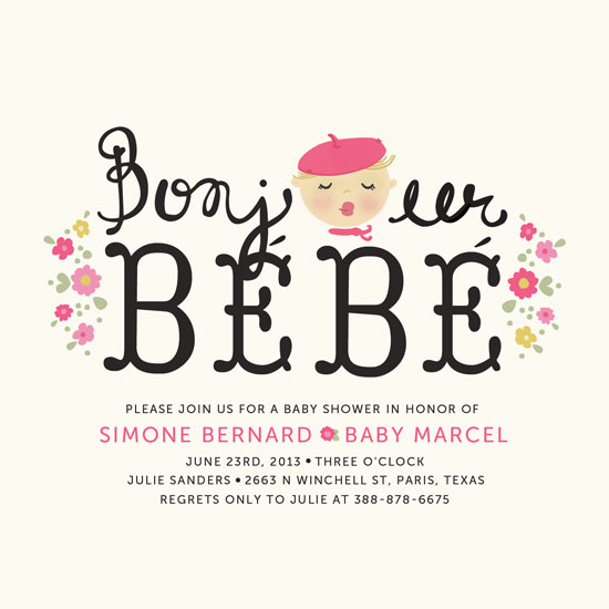 baby shower invitations bonjour bebe by pistols