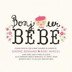 Bonjour Bebe Baby Shower Invitations