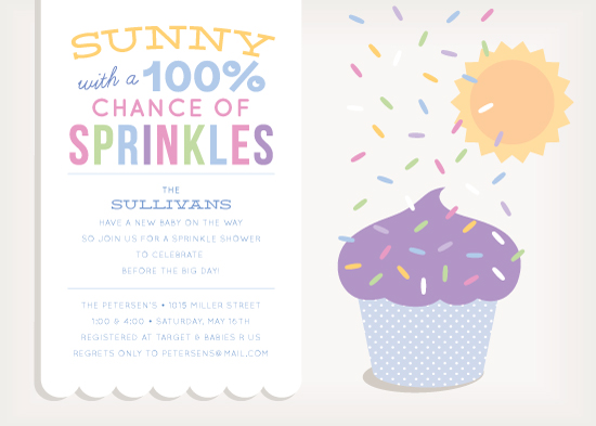 baby shower invitations - 100% Chance of Sprinkles by Laura Bolter Design