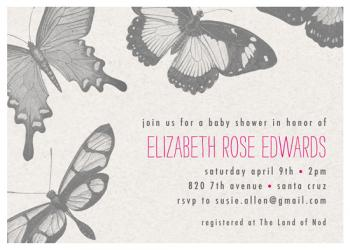 butterflys Baby Shower Invitations