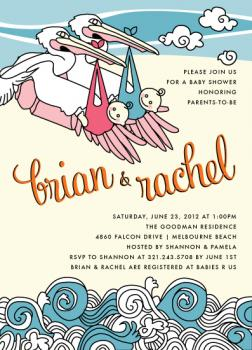 Pelican Twins Baby Shower Invitations