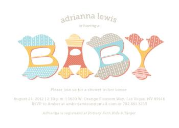 Type Baby Style Baby Shower Invitations