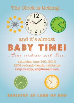 The Clock is Ticking Baby Shower Invitations