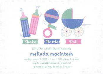 Shake Rattle Roll Baby Shower Invitations