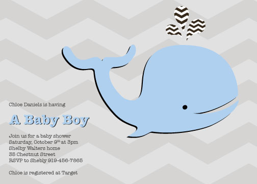 baby shower invitations - Little Baby Whale by Simply Shira
