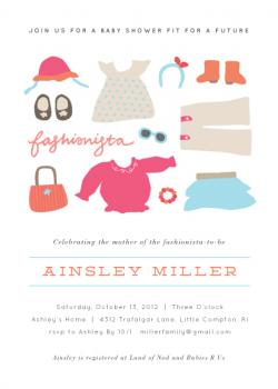 Little Fashionista Baby Shower Invitations