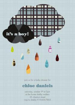 Little Gent's Raindrops Baby Shower Invitations