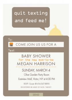 Texting baby shower  Baby Shower Invitations