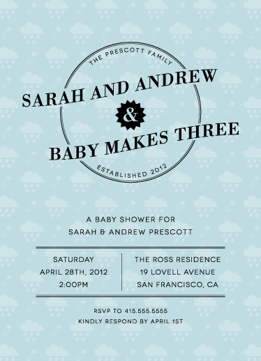 baby shower invitations - Baby Makes Three by Bourne Paper Co.