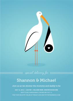 Stork Mail Baby Shower Invitations