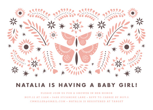 baby shower invitations - Mariposas by Olivia Raufman