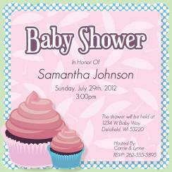 Baby Shower Cupcake  Baby Shower Invitations
