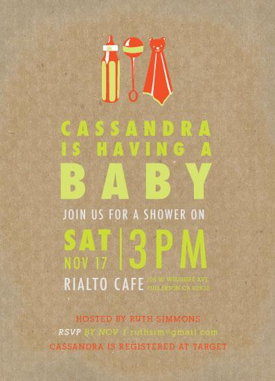 baby shower invitations - Screenprint Baby Pop by Shiny Penny Studio