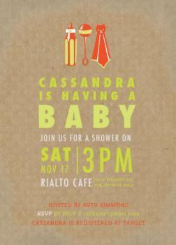 Screenprint Baby Pop Baby Shower Invitations