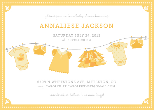 baby shower invitations - Laundry Line by Wendy Van Ryn