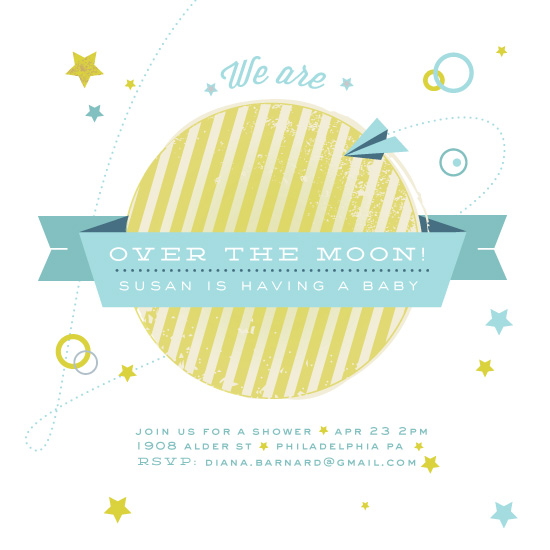baby shower invitations - over the moon by Very Special Devices