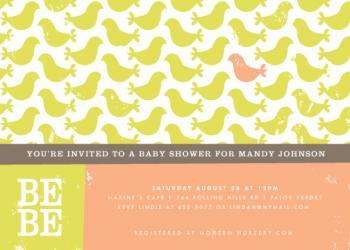 bebe birds Baby Shower Invitations