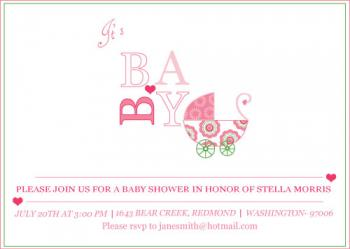 Pram O Pram Baby Shower Invitations