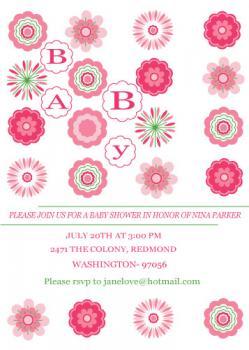 flora Baby Shower Invitations