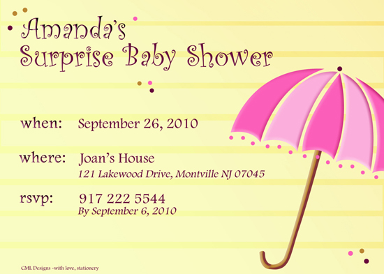 baby shower invitations - Pink and yellow showers by CML Designs