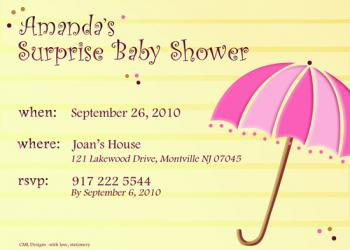 Pink and yellow showers Baby Shower Invitations