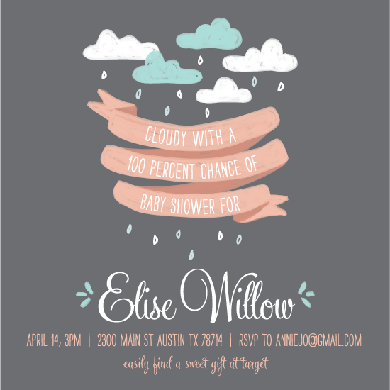 baby shower invitations - Ribbon and Rain by feb10 design