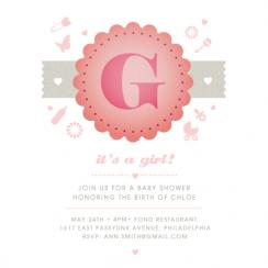 G is for girl Baby Shower Invitations