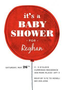 The Balloon  Baby Shower Invitations