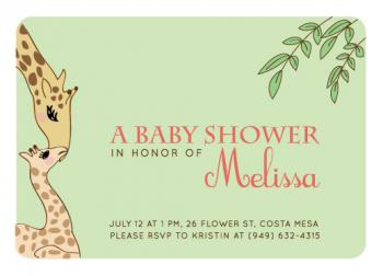 Sweet Giraffes Baby Shower Invitations