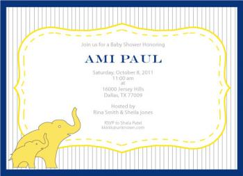 Pinstripes & Baby Elephant Baby Shower Invitations