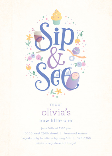 baby shower invitations - Sweet Sip & See by Laura Bolter Design