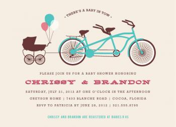 Baby in Tow Baby Shower Invitations