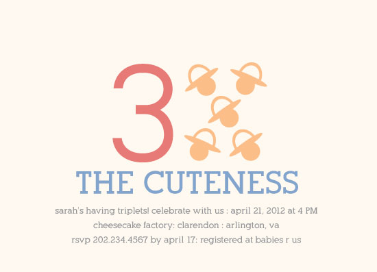 baby shower invitations - Times the Cuteness by Rachel Buchholz