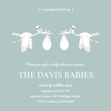 baby shower invitations - 2 Storks by Tracy Potter