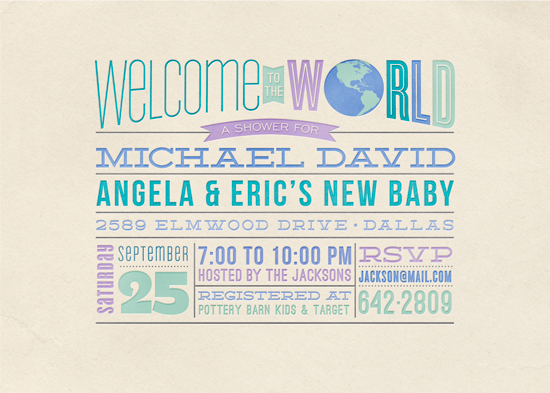 baby shower invitations - Welcome to the World by Laura Bolter Design