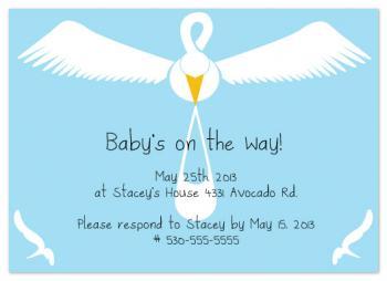 Flying Stork Baby Shower Invitations