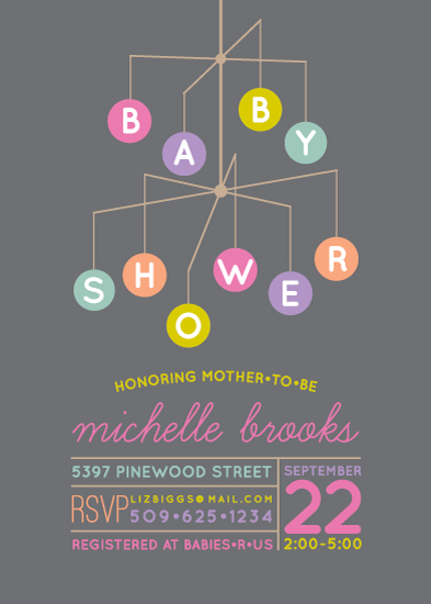 baby shower invitations - Shower Mobile by Laura Bolter Design
