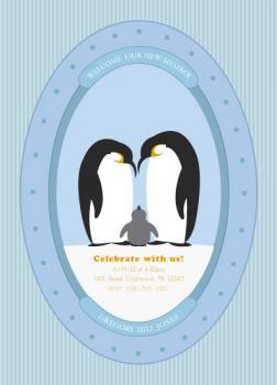 Lovable Penguin Gathering Baby Shower Invitations