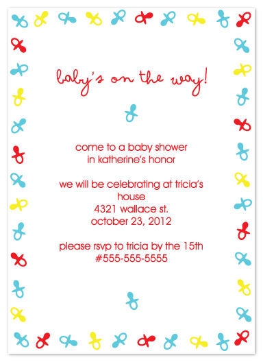 baby shower invitations - Primary Pacifiers by Denise Design