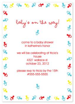 Primary Pacifiers Baby Shower Invitations