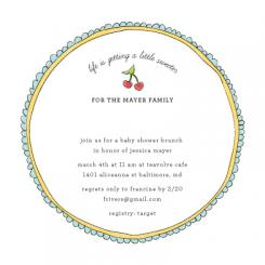 Sweet Cherries Baby Shower Invitations