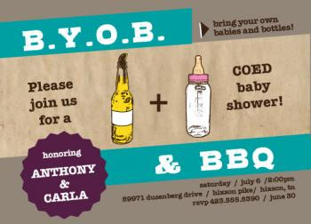 Babies and Bottles Baby Shower Invitations