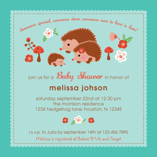 baby shower invitations - Folksy Critters by Marlene Leibowitz