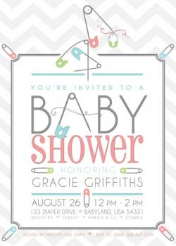 Playful Pins Baby Shower Invitations
