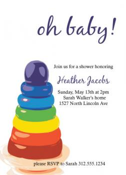 Rainbow Rings Baby Shower Invitations
