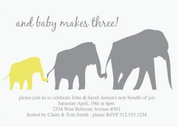 Elephant Line Baby Shower Invitations