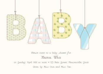 Hanging by Strings Baby Shower Invitations